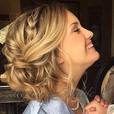 Wedding hair updo. Side braid, loose bun. Done by Heather Trimble at SplitEndings Salon in Cedar Hill,Texas