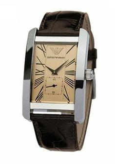 Emporio Armani Ar0154 Mens Brown Leather Beige Roman Watch UK on sale armaniemporiowatches.co.uk
