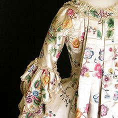 painted silk 18th century gown