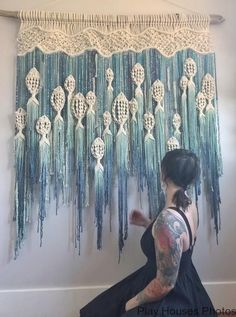 Macrame Fish Wall Hanging / Customizable Macrame Tapestry / Fish / Ocean /Fishing /Blue Ombre/Mobile /Beach House / Nursery / Boho/Over Bed - Macramé - Macrame Design, Macrame Art, Macrame Projects, Macrame Knots, Macrame Mirror, Macrame Wall Hanging Patterns, Macrame Patterns, Quilt Patterns, Etsy