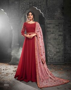 Red Net Party Salwar Kameez - SKMOHI49003 Red Georgette Anarkali Salwar Kameez with Thread and Zari Embroidery. Extremely Desirable Style Ethnic Anarkali Suit with Bottom of Santoon Fabric. Comes with a matching Net Dupatta.