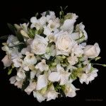 whtie and green rose orchids freesia calgary wedding flower bridal party bouquet
