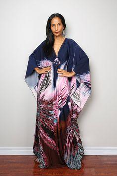 Boho Maxi Dress Summer Dress Kaftan Dress : Funky by Nuichan