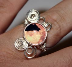 Adjustable Howling Wolf in Moon  Wire Wrap Ring by Nixcreations, $35.00
