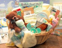Exclusive Welcome Baby Gift Basket -- Most of the things a baby need in the basket