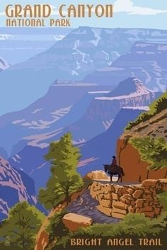 Grand Canyon National Park - Bright Angel Trail - Lantern Press Poster