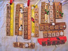 Scrabble Pieces Crafts, Scrabble Letter Crafts, Scrabble Ornaments, Letter Ornaments, Scrabble Art, Scrabble Tiles, Scrabble Coasters, Christmas Fair Ideas, Diy Christmas Gifts