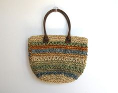 #Vintage Boho / Woven Multicolored Straw Market Tote / Beach Bag by VelouriaVintage, $25.00
