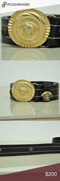 vintage versace belt gold medusa vintage versace belt gold medusa black leather size 32 the belt has signs of wear good condition 1.5'' width Versace Accessories Belts