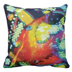 """Oblivion Bliss Throw Pillow. 50% OFF Pillows – Use CODE: ZCUSTOMGIFTS 'til  Midnite Tonite 12-10-16. Decorate your space and your mind with the grooviest psychedelic pillows yet. Enjoy lounging in comfort and edgy style. Totally new. Totally now! The trippy image is created from my Kinetic Collage """"Sweet Dreams"""" series of light show photos. How hip is that? Over 3000 products at my Zazzle online store. Open 24/7 World wide! http://www.zazzle.com/greg_lloyd_arts*?rf=238198296477835081"""