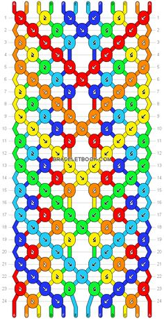 Friendship bracelet pattern 14691 - 16 strings, 6 colours