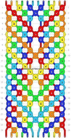 Friendship bracelet pattern 14691 - 16 strings, 6 colours