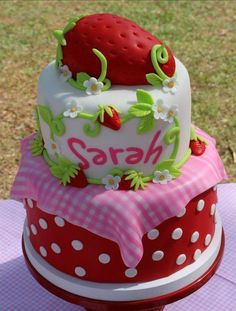 How appropriate that it has Sarah's name AND spelt right!  She is my Strawberry Shortcake!