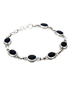 Take a look at this Onyx & Sterling Silver Dancing in the Dark Bracelet by MyMela on #zulily today!