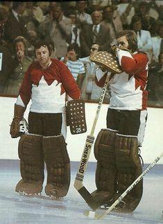 Team Canada goaltenders Tony Esposito and Ken Dryden, Summit Series Hockey Goalie, Hockey Games, Ice Hockey, Kings Hockey, Montreal Canadiens, Ken Dryden, Hockey Boards, Goalie Mask, Of Montreal