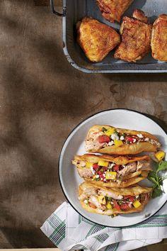 Chicken Thigh Recipes: Crunchy Jerk Tacos with Watermelon-Mango Salsa