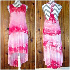 Large 2 Pc Set High Low Skirt & Strappy Back Top Hand Tie Dyed Set Rayon Pink #UKissJK #HighLow #Casual #Dress #Pink #ilovepink #TieDye #JoiNT #JawDroppingNifty3 #JawDropping