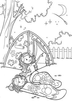 Girl Scout camping Coloring Pages | Groovy Girls Camp Coloring Pages