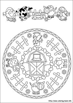 Mandala farm coloring... ** this would make a great kitchen clock for a country/farm theme kitchen. ~ Ruth **