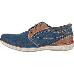 Die bugatti Freizeit Schuhe zeigen sich mit einem lässig-sportiven Obermaterialmix aus echtem Leder und textilem Material. Die herausnehmbare, gepolsterte Decksohle sorgt für einen hohen Tragekomfort. <br /> <br /> - Verschluss: Schnürverschluss<br /> - leicht gepolsterte Zunge<br /> - praktische Anziehlasche<br /> - verstärkter Fersenbereich<br /> - Laufsohle mit leichtem Profil und Dämpfung im Fersenbereich<br /> &...