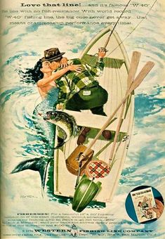 I'm Kim and here are some scans of vintage comics, advertising, photographs, illustrations, and old Hollywood etc from my collection. Vintage Advertisements, Vintage Ads, Vintage Posters, Vintage Mermaid, Mermaid Art, Mermaid Paintings, Tattoo Mermaid, Mermaid Lagoon, Norman Rockwell