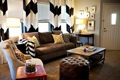 black and white room decorations traditional sofa cute as a button erin chair industrial wood and metal aiden coffee table hand fired ceramic table lamp soft brown rug brown puffy ottoman of Appealing Black and White Room Decorations for Your Home
