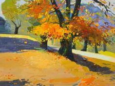 "\""Reçi\'s chestnut trees in autumn 2\"", 2009, 80 X 70 Cm, Oil - Pashk Pervathi"