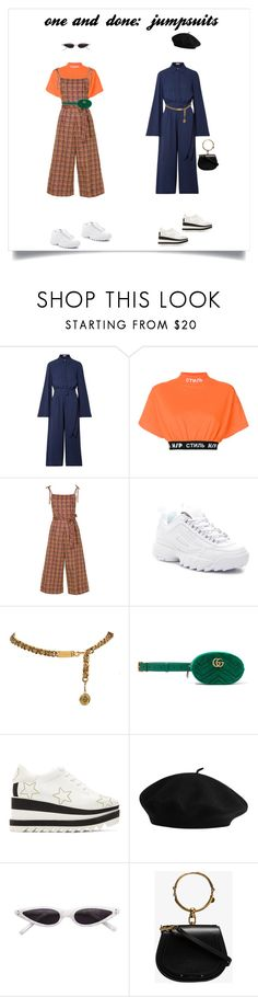 """one and done: jumpsuits - contest set"" by neginnxx ❤ liked on Polyvore featuring Michael Kors, Heron Preston, Nili Lotan, Fila, Gucci, STELLA McCARTNEY, Chloé and jumpsuits"