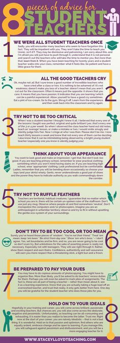 8 Pieces of Advice for Student Teachers Infographic - http://elearninginfographics.com/8-pieces-advice-student-teachers-infographic/