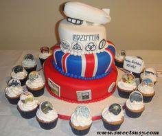 Led Zeppelin Cake and Cupcakes.