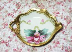 Limoges Elite Works bone China one-handled dish / hand painted