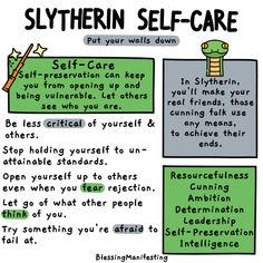 What's your Hogwarts House self-care? Check out the self-care ideas for Hufflepuff, Ravenclaw, Slytherin, and Gryffindor! Slytherin And Hufflepuff, Slytherin Harry Potter, Slytherin House, Harry Potter World, Slytherin Traits, Harry Potter Houses Traits, Slytherin Quotes, What's Your Hogwarts House, Hogwarts Houses