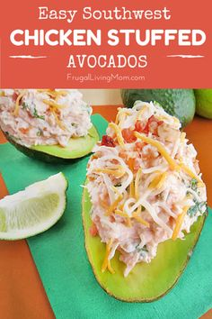 Southwest Chicken Stuffed Avocados- These Easy Southwest Chicken Stuffed Avocados are a great change in your regular lunch routine and are also perfect for gluten free diets and paleo (just don't add cheese if you are strict paleo).