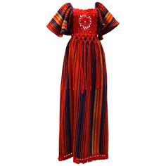 1970s Rikma Bohemian Crochet W/Fringe Maxi Dress For Sale