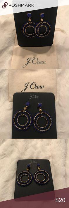 JCrew Blue and Gold Earrings Like new worn once! J Crew Earrings blue and gold beaded earrings. J Crew Jewelry Earrings