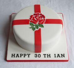 The England Rugby Rose - Birthday Cake Birthday Cakes For Men, Birthday Cupcakes, Birthday Ideas, 16th Birthday, Mini Tortillas, Beautiful Cakes, Amazing Cakes, England Cake, Rugby Cake
