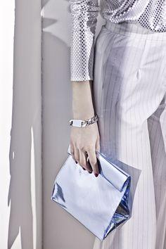 S M K By Sandra Meynier Kang // METALLIC BAG Sky Blue Vinyl Paper Bag Style