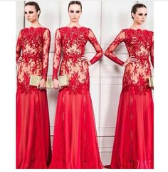 Long sleeve red lace gown