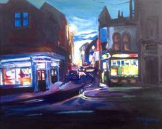 Dark Wakefield Art, Carter Street, Westgate, acrylic on stretched canvas, Wakefield Artist Tim Burton. Tim Burton, Stretch Canvas, Canvas, Art, Dark