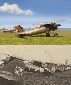 PZL P.7a, 123 Eskadra Myśliwska, nr taktyczny 1 V Engine, Ww2 Planes, Vintage Airplanes, Air Ride, Parasol, Aviation Art, World War Two, Pilots, Wwii