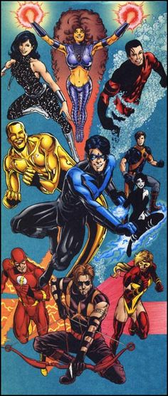 Nightwing and the Titans by Phil Jimenez Dc Heroes, Comic Book Heroes, Comic Books Art, Comic Art, Dc Comics Characters, Dc Comics Art, Fun Comics, The New Teen Titans, Teen Titans Go