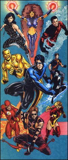 Titans Argent, Troia, Nightwing, Damage, Cyborg, Jesse Quick, Arsenal, Starfire…