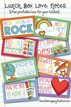 Over thirty of my favorite printable lunch box notes to slip in your kid's lunch this year when they go back to school! Stock up on these lunch box notes! Kids Lunch Box Notes, Kids Lunch For School, School Snacks, School Days, School Stuff, Notes Free, Boite A Lunch, Little Lunch, Love Notes