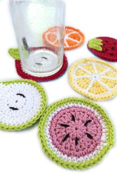 Crochet Fruit Coasters Summer Coasters Bright by makinitmama, $18.00