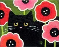 Little Black CAT Wild Poppies Original Folk by WildSunflowerStudio, Wild Sunflower, Black Cat Art, Black Cats, Wild Poppies, Cat Quilt, Cat Crafts, Cat Drawing, Cat Love, Crazy Cats