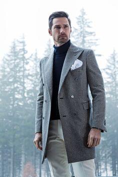 Sartoria Rossi - Pied-de-poule Overcoat FW 2015 http://bit.ly/1y8lXLs Mens Winter Coat, Layered Fashion, Cream Pants, Suit Shirts, Winter Outfits Men, Pittsburgh, Men's Coats And Jackets, Men Closet, Male Style