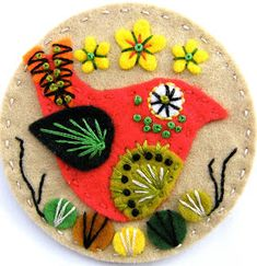 Found these exquisite felt brooches by British designer Jane Smallcombe . Jane loves all crafts and has been able to knit and crochet since. Felt Diy, Felt Crafts, Crafts To Make, Fabric Crafts, Arts And Crafts, Tape Crafts, Embroidery Designs, Wool Embroidery, Applique Designs