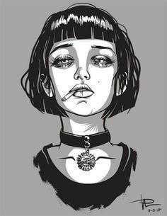 47 Mathilda and Leon Illustration Ideas - Art Dark Art Drawings, Bild Tattoos, White Art, Pencil Art, Art Inspo, Art Sketches, Art Reference, Character Art, Cool Art