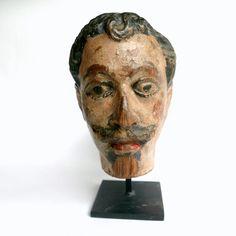 Antique French Folk Art Puppet Head