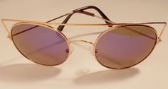 Womens Sunglasses Purple Mirrored Lens Cat Eye Shaped Eyewear Gold Frame  #Unbranded #CatEye